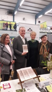 Mary Dolan, Melissa Newman and Laurence Henson present a Strokestown Anthology 2017 to Dáithi Ó Sé