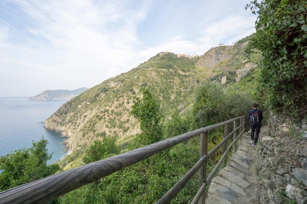Walking along the ocean in Cinque Terre Italy