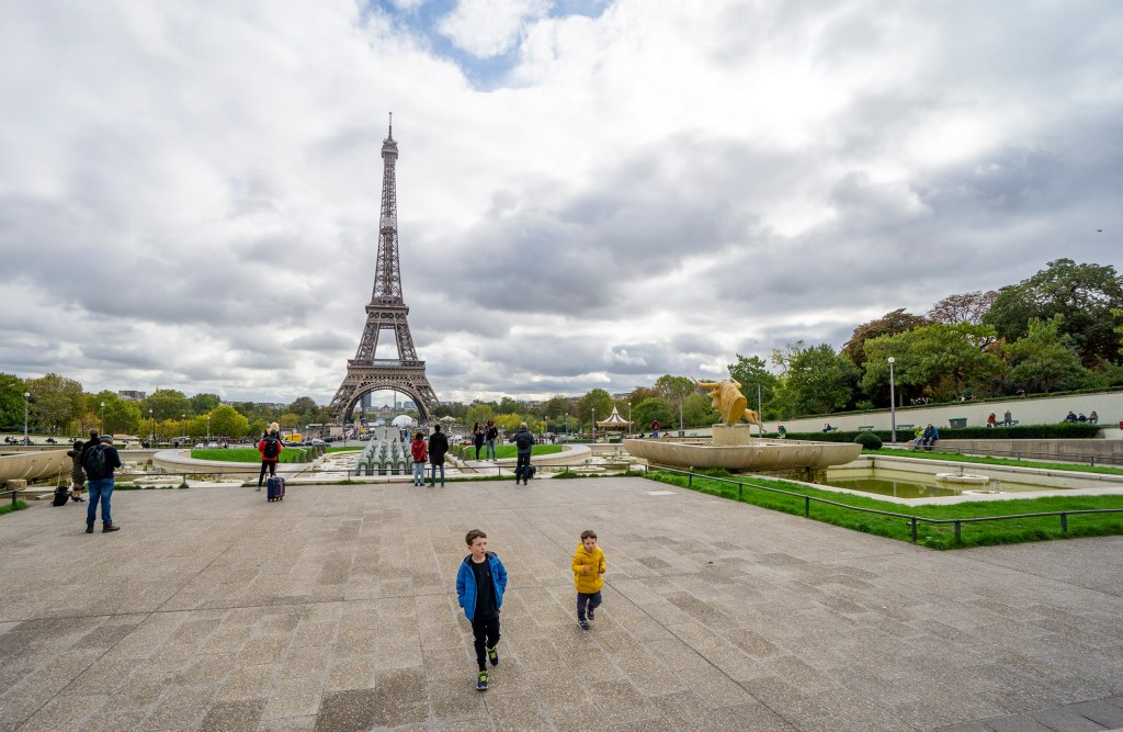 Eiffel Tower view from Trocadero Gardens Paris with kids