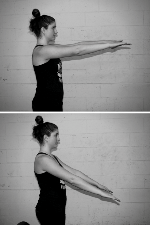 Lyndsey's shoulder is in a more flexed position in the top photo, and in a more extended position in the bottom photo.