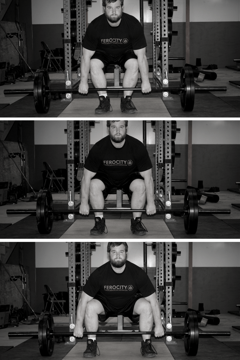 conventional deadlift setup with narrow hip width and wide stance
