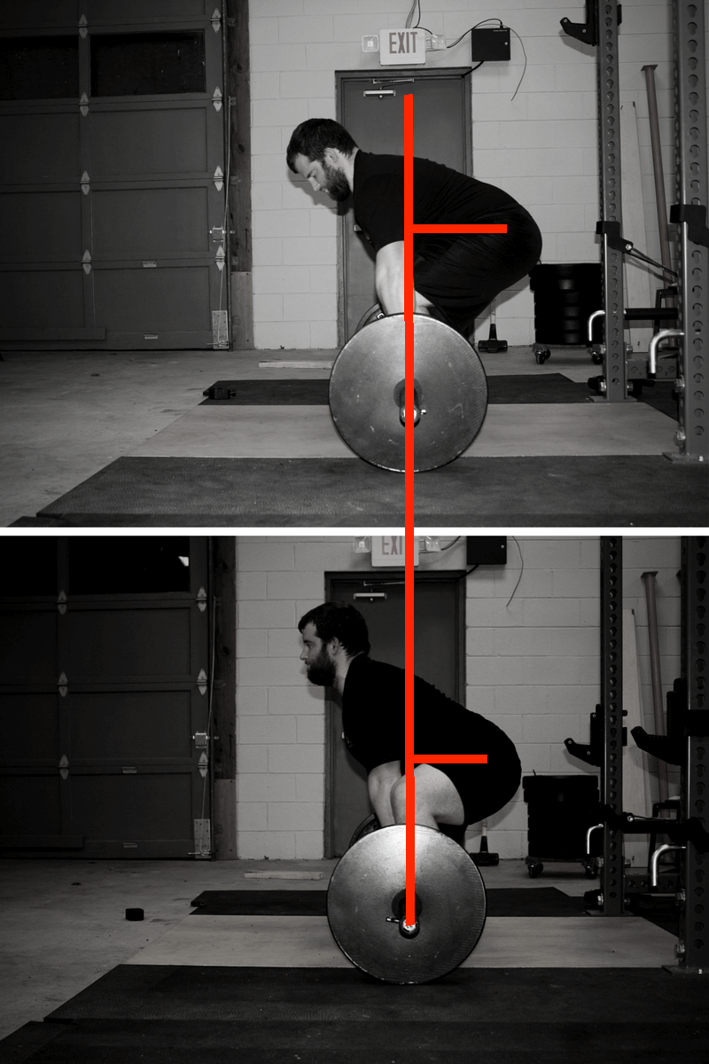 As you can see, the hips are much further behind the bar in the conventional deadlift, primarily because the back is much more inclined, and the hips are not as abducted.