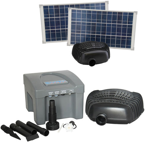 RSFB2500 Solar Fountain, Pond and Water Feature Pump Kit with 2 Solar Panels and Battery for night operation