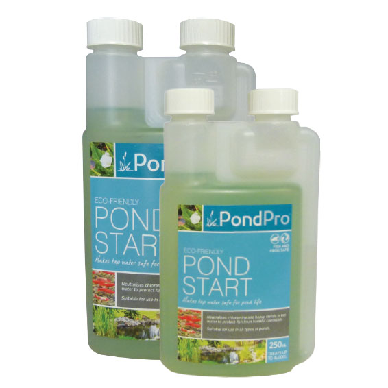 pond start neutralises harmful chemicals and heavy metals in tap water