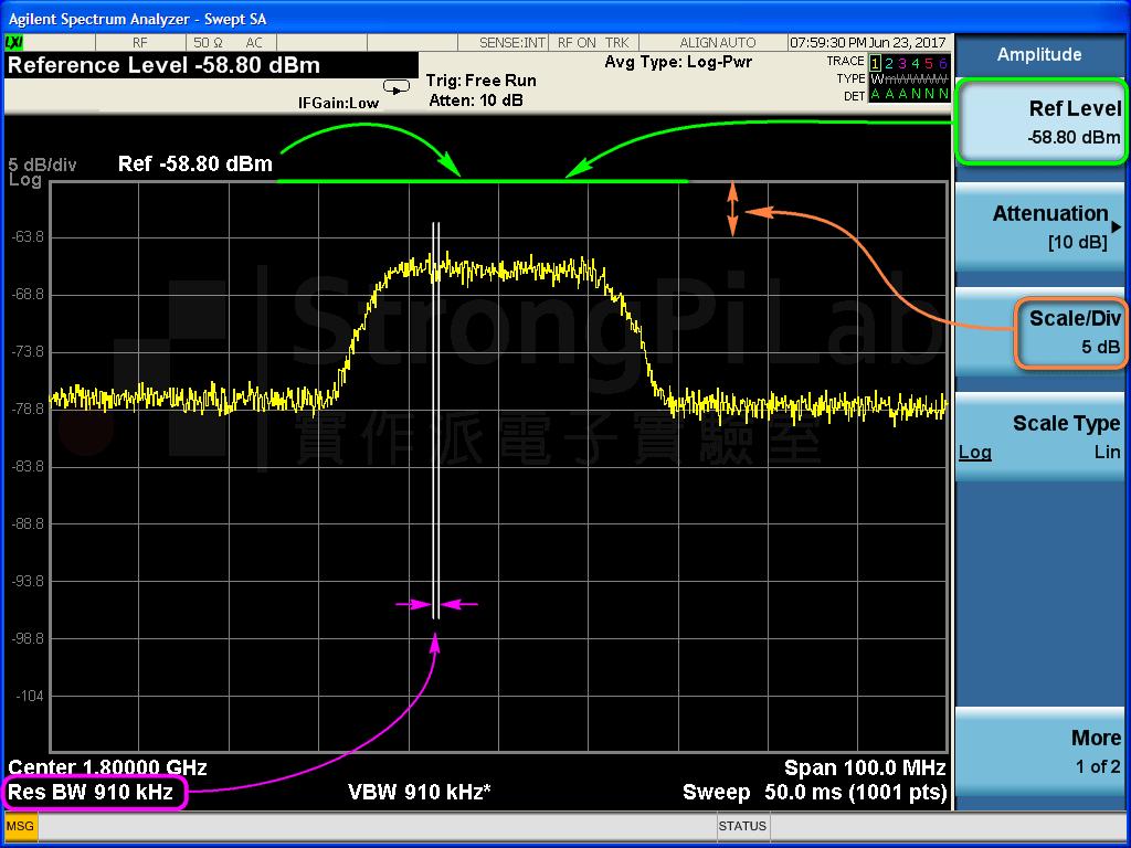 Spectrum 解析頻寬RBW設定
