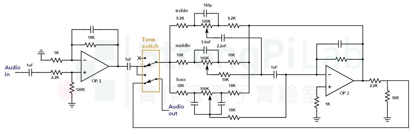 擴大機-前置放大器電路圖
