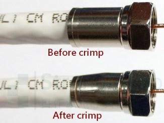 同軸電纜 壓接頭 擠壓前後的比較