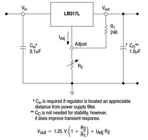 LM317的電壓輸出公式-摘自On semiconductor網站