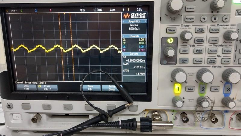 示波器的input 浮接 時,受到環境的擾動
