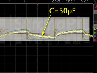 金屬間隔為1cm時的 等效電容 約為50pF
