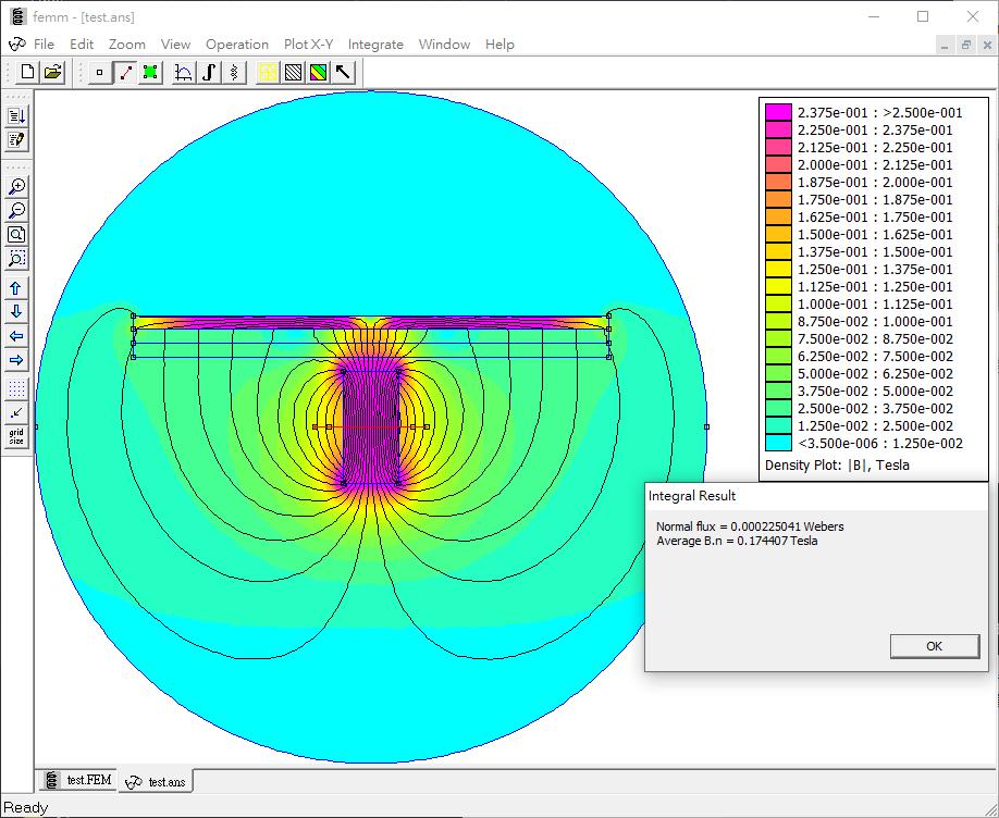 FEMM模擬 單線圈 的磁場