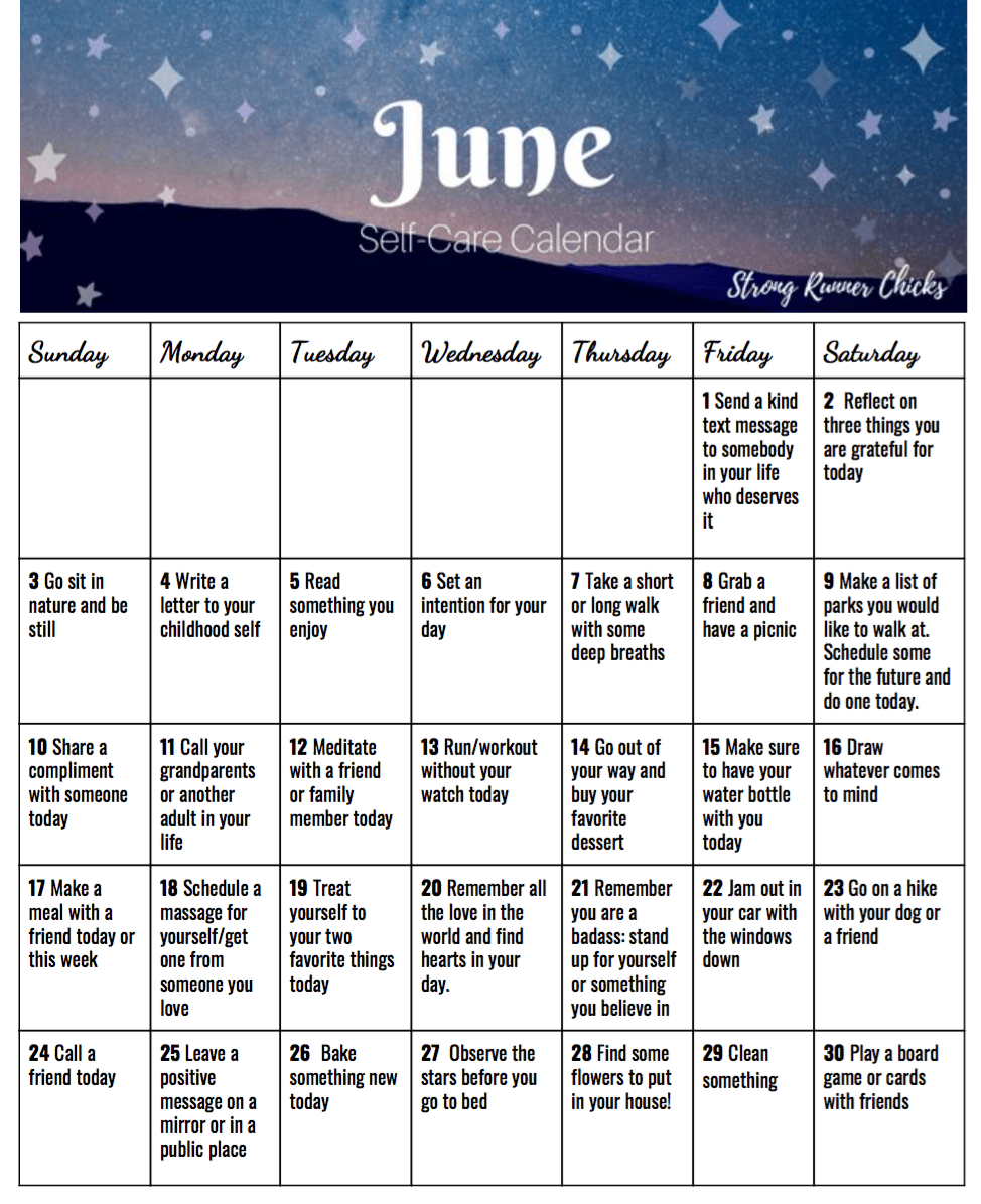 Calendar Of June.June Self Care Calendar
