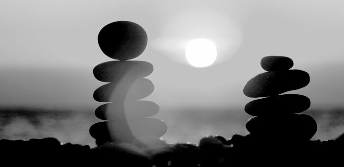 Stacked rocks in alignment