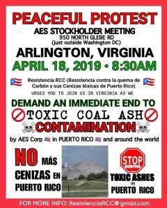 April 18, Arlington, Virginia, protest toxic coal ash contamination in Puerto Rico