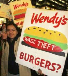 'What do we want? Justice! Boycott Wendy's!'