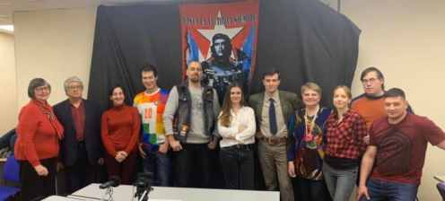 Organizers of the Anti-Imperialist Marathon Broadcast in Moscow.