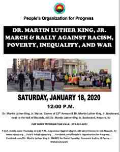 Newark, N.J., Jan. 18: MLK March & Rally Against Racism, Poverty, Inequality, and War