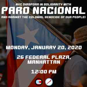 Jan. 20: NYC Against the Colonial Genocide of Puerto Rican People