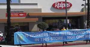 Essential workers protest at Ralph's supermarket in Hollywood