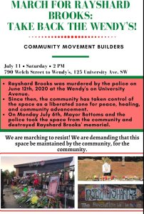 Atlanta July 11: March for Rayshard Brooks - Take Back the Wendy's