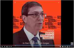 Cuban Foreign Minister Bruno Rodriguez Parilla speaks about the U.S. blockade against Cuba