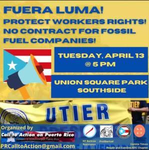 New York: Fuera LUMA! No contract for Fossil Fuel companies, April 13