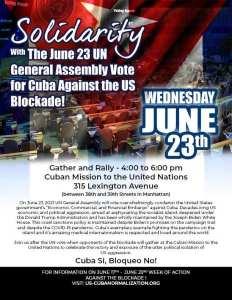 New York City: Solidarity with UN vote for Cuba against U.S. blockade, June 23