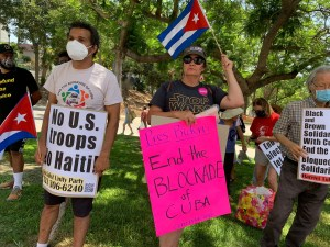 Los Angeles: Groups protest U.S. intervention in Cuba and Haiti