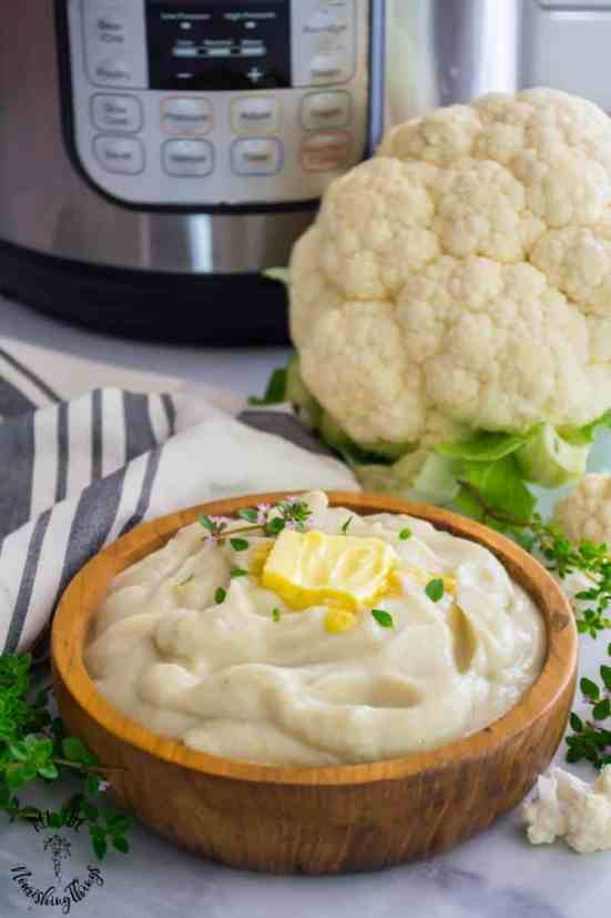 Instant pot cauliflower mashed potatoes for low carb meals and picky eaters