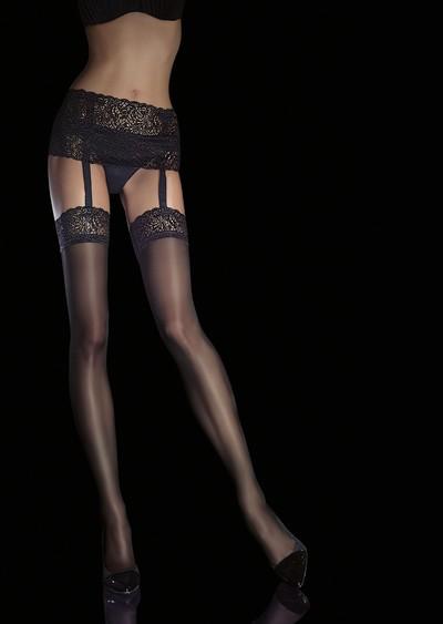 Sinnliche Strip Panty mit Spitzenabschluss Viona von Fiore, 40 DEN, schwarz, Gr. M