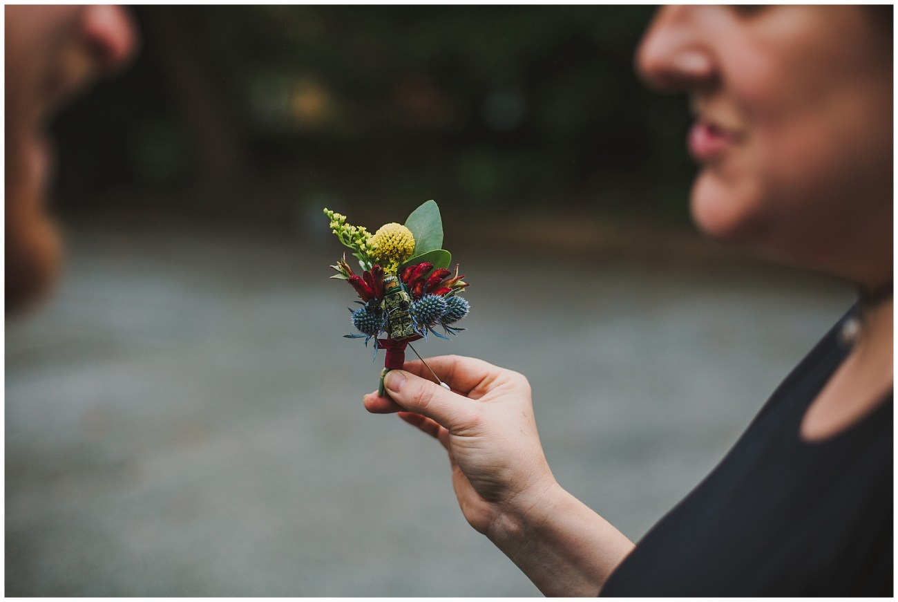 grooms quirky buttonhole