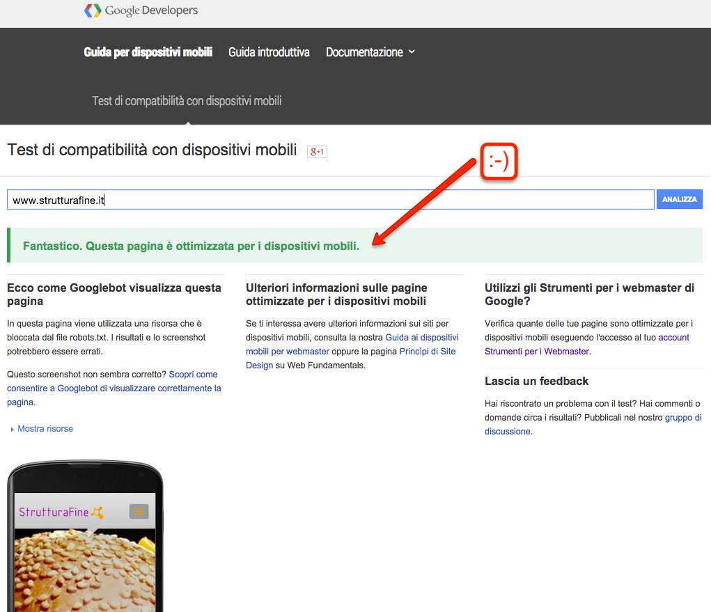 Responsive Google web test di compatibilità mobile | Strutturafine