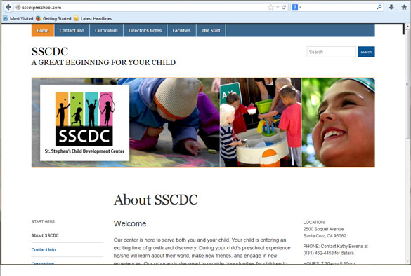 Visit the SSCDC website. Our preschool, St. Stephen's Development Center, is currently accepting students.