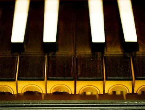 Keys on the harpsichord.
