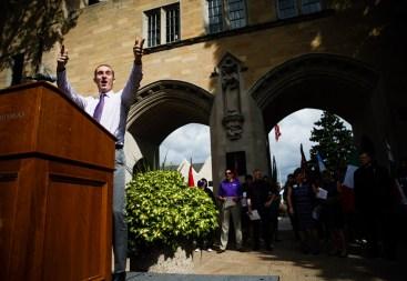 Undergraduate Student Government president Michael Gaytko addresses incoming students.