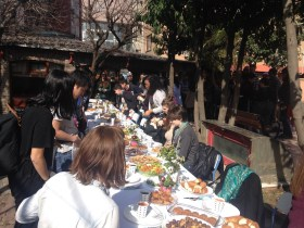"Honorable Mention, Intercultural Experience: Andrea Diamond, Istanbul, Turkey. ""Lunch in the School Garden: I traveled to Istanbul, Turkey, with my Children a Multicultural Context class (from Denmark), and we made several academic visits over the course of the week. This photo was taken at Nefus Nakipoglu, which is an incredible school for students with special needs. Everyone at Nefus Nakipoglu was so warm and welcoming! At the end of our tour, the staff led us to the garden for lunch. All of the food served was prepared for us by the students and their families. It was lovely!"""