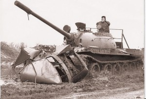 Me in a tank with a grin on my face