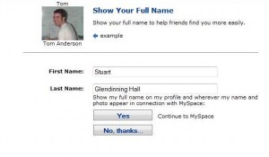 Real name use on MySpace