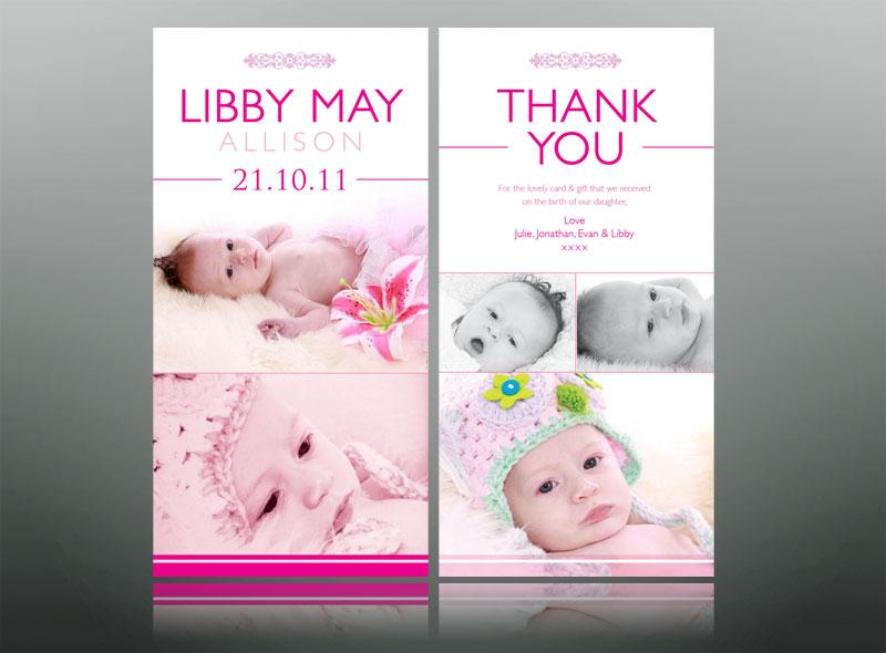 thank you card design baby
