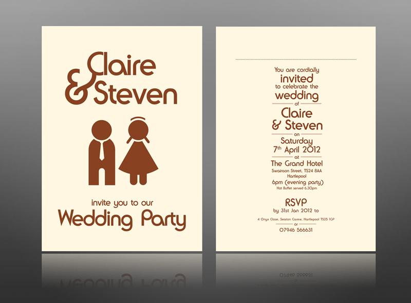 fun wedding invite man women