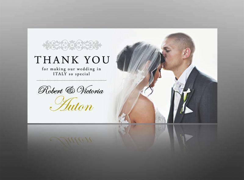 Wedding thank you card design clean modern stylish
