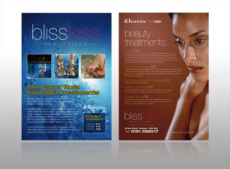 Bliss Kiss: Leaflet design for a luxury health & beauty spa. The project also included other marketing & design work such as logo design, branding, brochures, business cards & posters