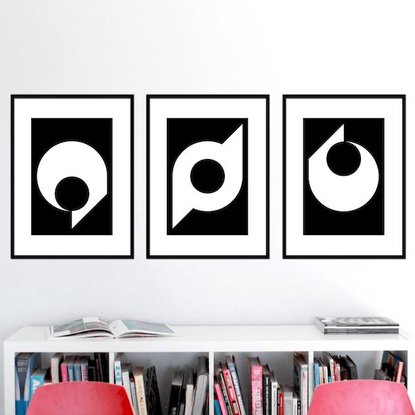 black ball set of 3 stuartconcepts p0012 black frames