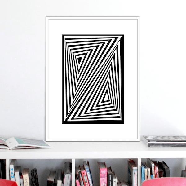 zed optical illusion print stuartconcepts p0026 white frame