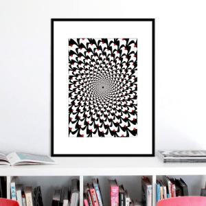 birds optical illusion print p0024 black frame