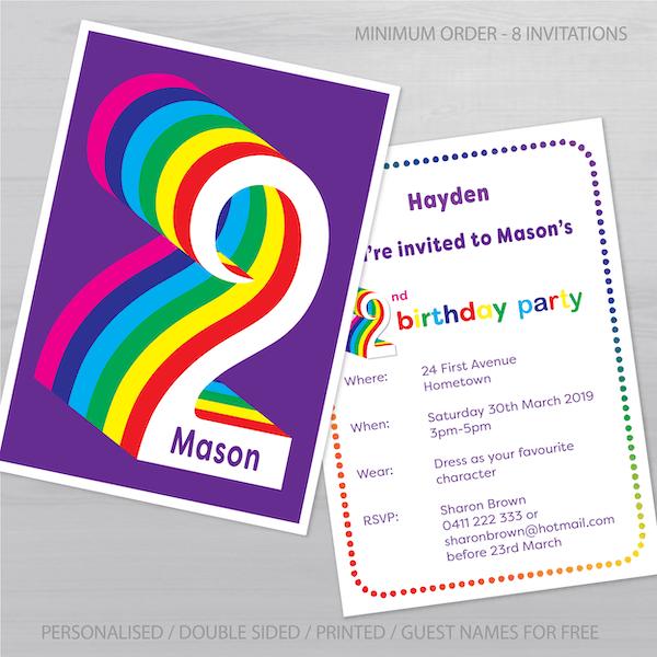 2nd birthday invitation boy girl rainbow inv002 display