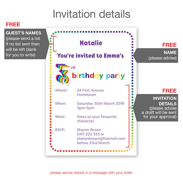 3rd birthday invitation boy girl rainbow inv003 invite details