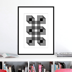 six black squares optical illusion stuartconcepts print p0025 black frame