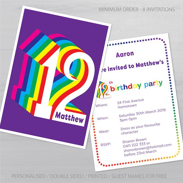 12th birthday invitation inv012 display new