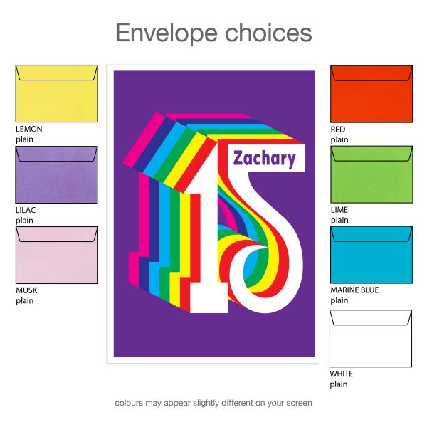 15th birthday invitation inv015 envelope choices